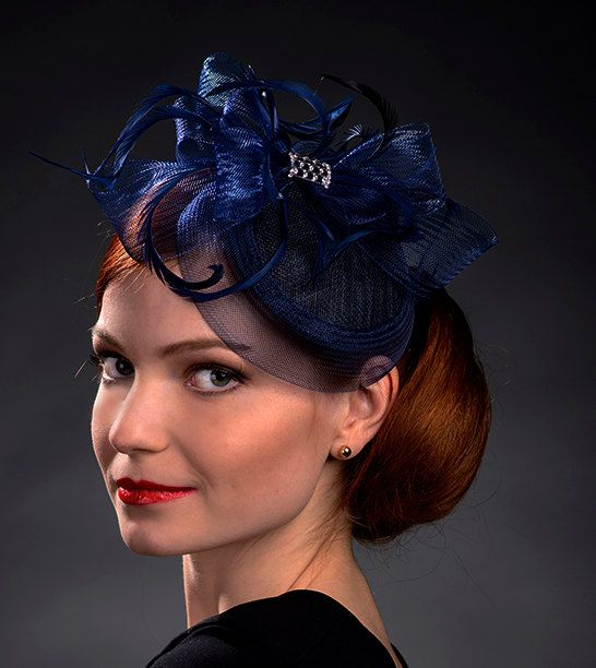 Navy Blue petite hat fascinator for weddings Ascot by MargeIilane, $49.90