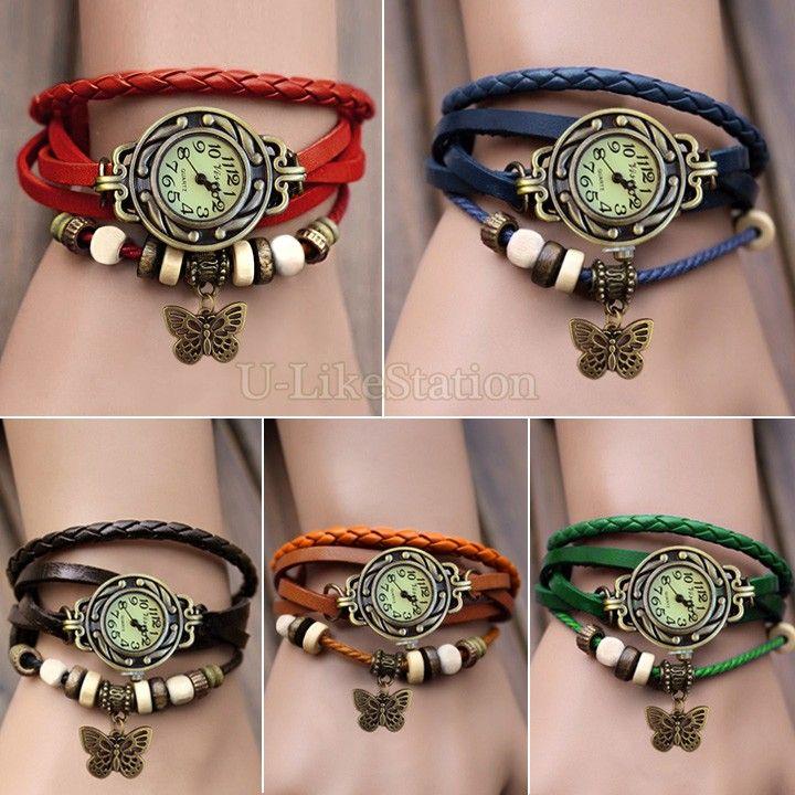 Cheap 2014 Nuevas 7 colores De alta calidad originales Las mujeres se visten de cuero Relojes Vintage, pulsera pulsera de la mariposa colgante 19255 # 710, Compro Calidad Relojes de Pulsera directamente de los surtidores de China:                                                2014 N