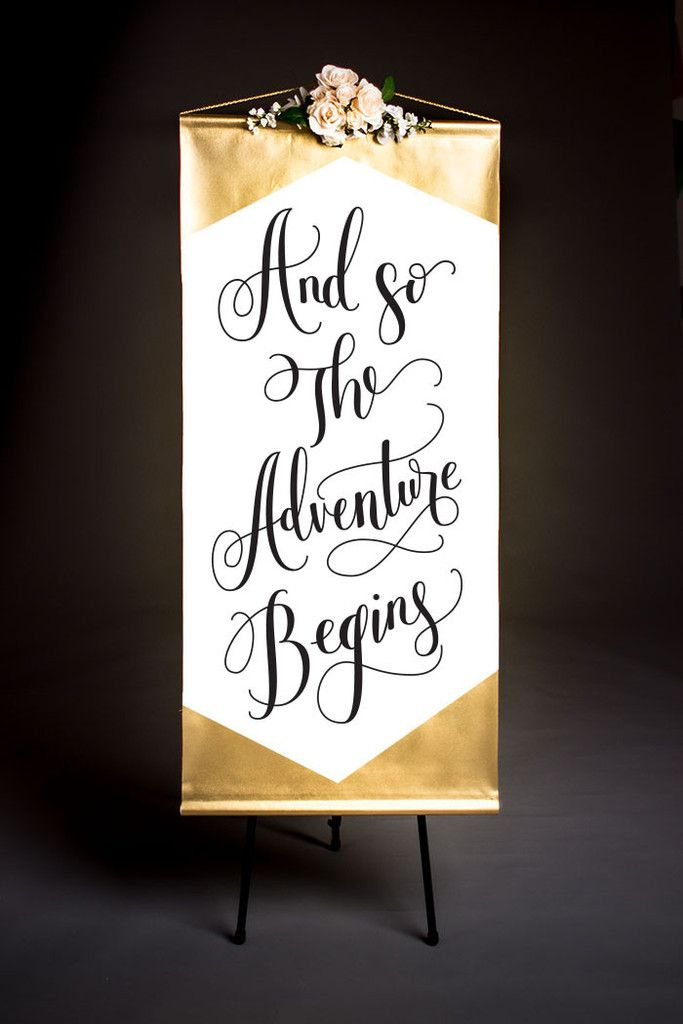 And So The Adventure Begins - Wedding Banner in Gold