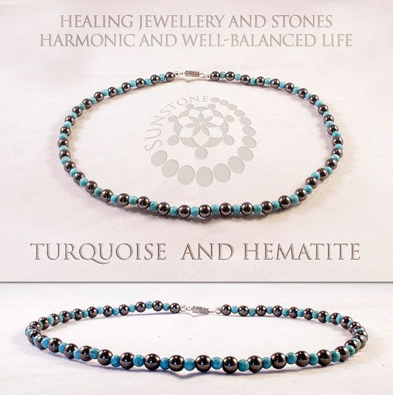Hematite and Turquoise Gemstone Necklace Handmade by SunstoneCraft