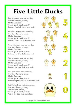 5 little ducks is a good nursery rhyme as it helps children with counting and it's a really fun nursery rhyme  Sparkle box retrieved from http:www.sparklebox.co.uk/literacy/nursery-rhymes m.lyrics-sheets.html#.WNwsDkzXeEc