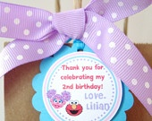Elmo y Abby Etiquetas personalizadas del cumpleaños Favor, Custom etiquetas colgantes, etiquetas, favores de partido - Juego de 12