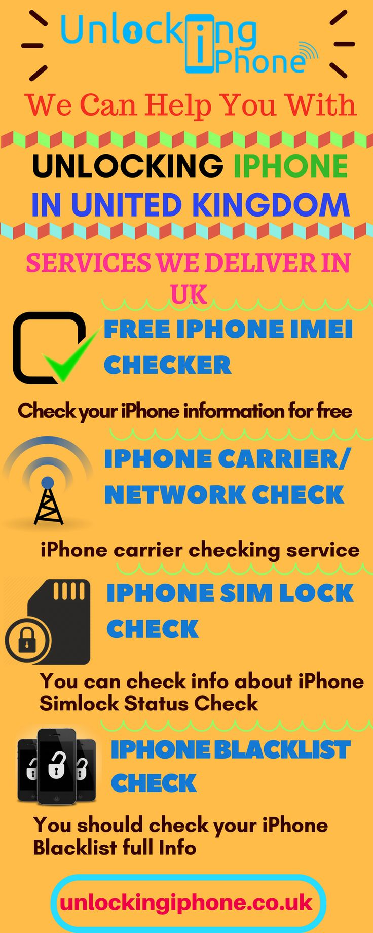 Unlocking Iphone offers different services in UK like Iphone SIM lock check, free Iphone IMEI Checker etc. Get help with these services in UK now. Browse our image to know more about these services.