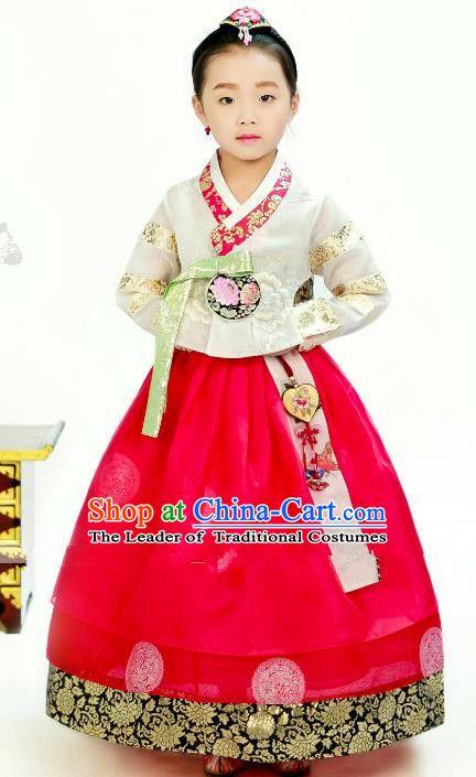 38ba07fad Traditional South Korean Handmade Hanbok Children Little Girls Birthday  Customization Embroidery White Blouse and Dress Complete Set, Top Grade Korea  Hanbok ...