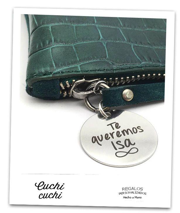 Bolsos de mano en piel personalizados con iniciales, nombre, mensajes... Regalos en cuero, pulseras y joyas con mensaje... para mamá, abuelas, para amigas..