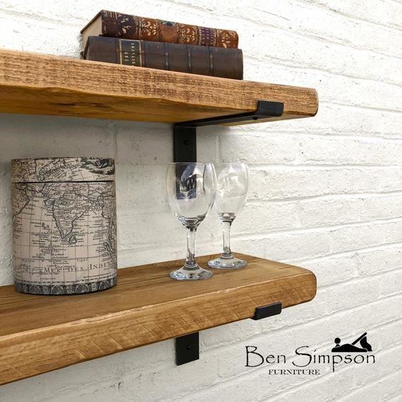 Rustic Shelves Handcrafted Using Solid Wood Industrial Metal