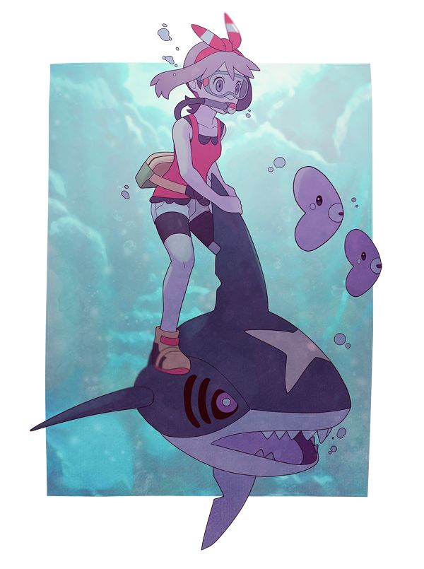 1girl bike_shorts diving diving_mask fanny_pack gojya hair_ribbon haruka_(pokemon) haruka_(pokemon)_(remake) luvdisc pokemon pokemon_(game) pokemon_oras ribbon riding sharpedo shoes short_shorts shorts sleeveless sleeveless_shirt sneakers two_side_up underwater