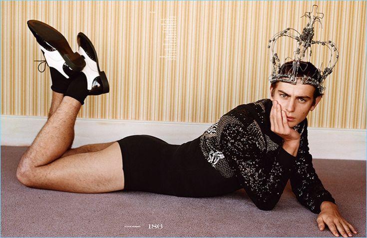 Ben Allen wears a teddy jacket by Saint Laurent with a Maison Margiela leotard, Falke socks, and Costume Studio shoes.