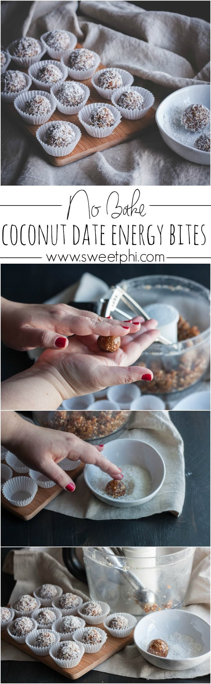No bake coconut date energy bites, date energy balls, energy bites, date recipes, recipes with dates, no sugar added dessert, whole30 recipe, gluten free and vegan recipe from @sweetphi