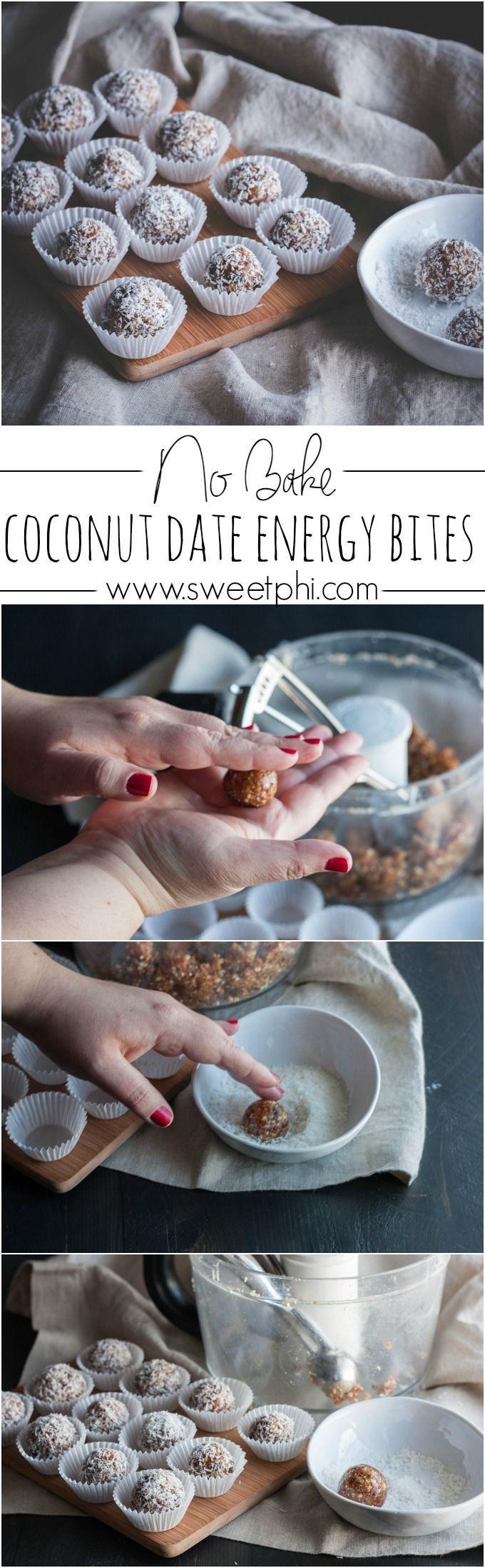 No bake coconut date energy bites, date energy balls, gluten free and vegan recipe