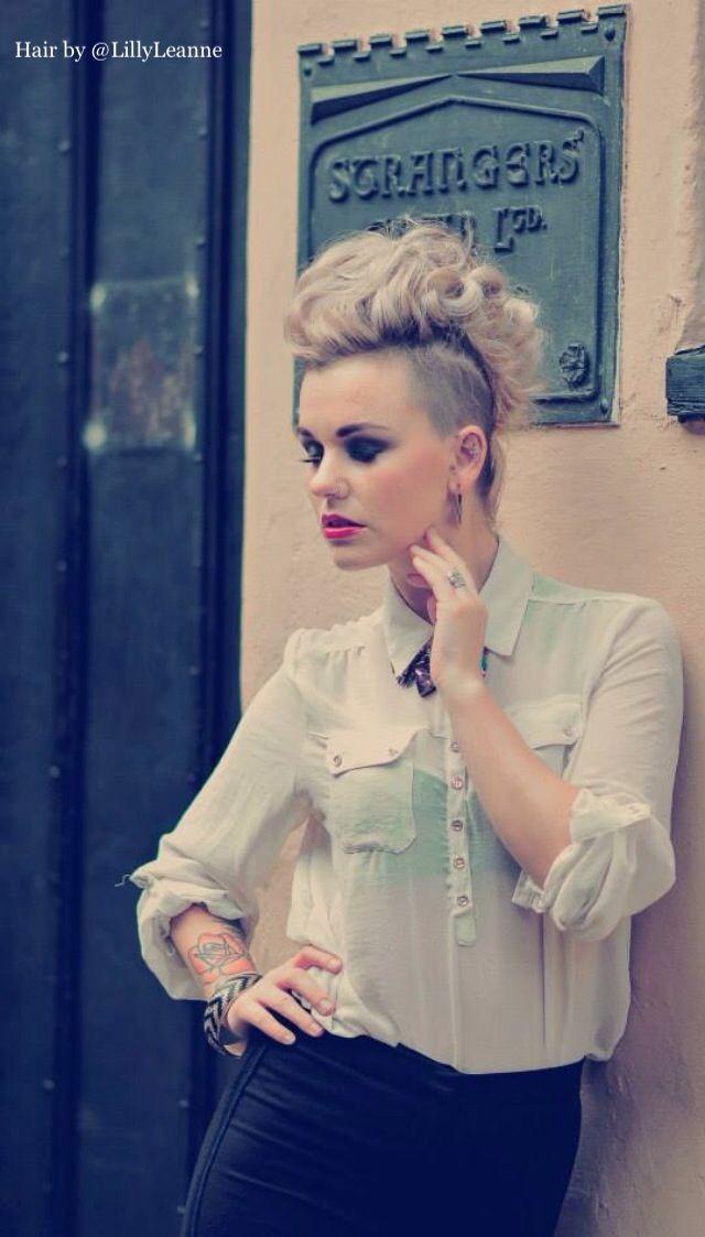 Mohawk, curly, hair, fashion, model