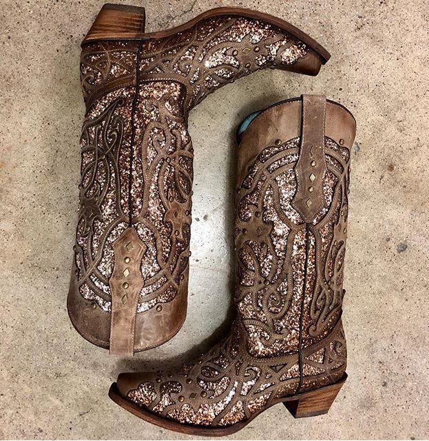 Glitter inlay cowboy boots