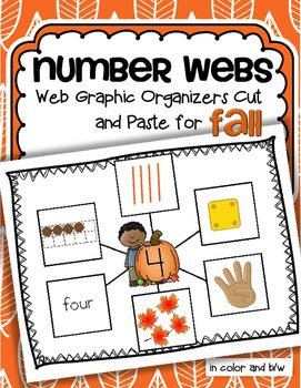 Number webs 1-10 cut and paste for a Fall theme for pre-K and Kindergarten.  Children create numbers 1-10 web graphic organizers by cutting and pasting 6 ways that numbers can be represented onto a number mat background. In both color and b/w. The 6 ways that numbers can be resented used here are: 10-frames, tally marks, dice, finger counting, objects in a set, and the number word.
