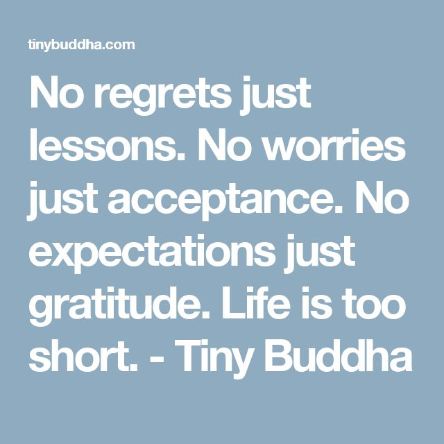 No regrets just lessons. No worries just acceptance. No expectations just gratitude. Life is too short. - Tiny Buddha
