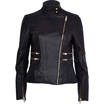 Black leather turtle neck biker jacket �150.00