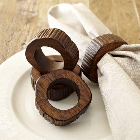 Wood slice napkin rings