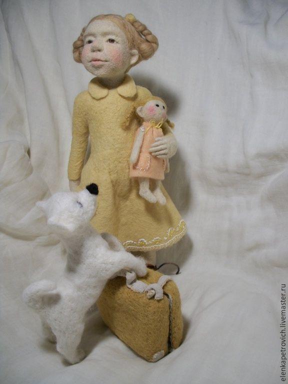Купить Лизонька и собачка Розка едут на деревню к деду.. (на заказ) - желтый, девочка