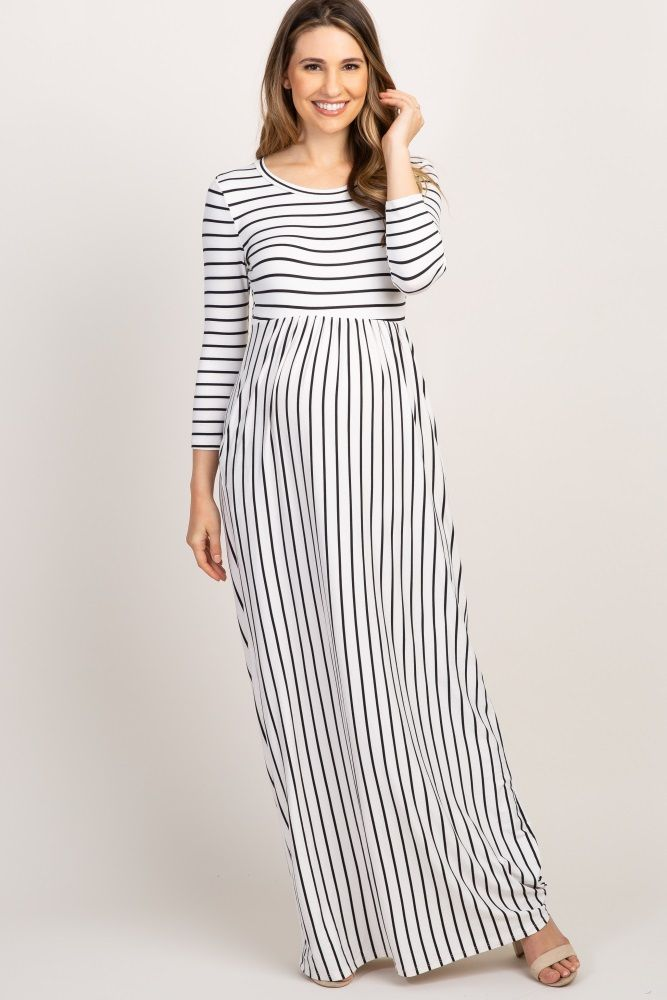 0f99065d851 Ivory Striped Pleated Maternity Maxi Dress in 2019