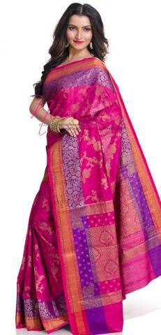 Pure Silk Cotton Sarees Online Pink Hand Woven Boutique BO150D772