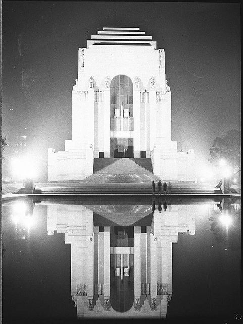 Coronation decorations; illuminations of Sydney, Anzac War Memorial, Hyde Park, Sydney, 1937 / photographer, Sam Hood by State Library of New South Wales collection
