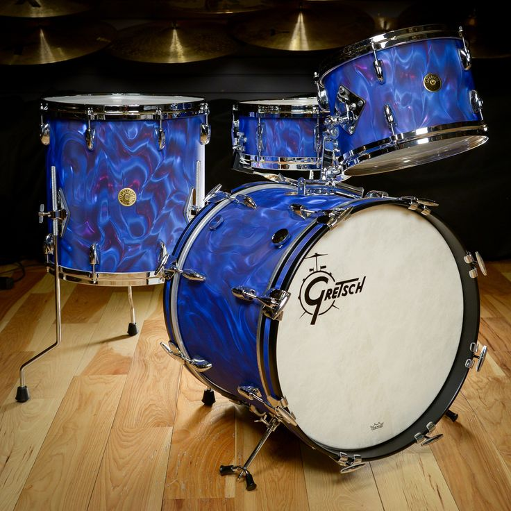 Gretsch USA Custom 12/14/18/5.5x14 4pc Bop Drum Kit Peacock Satin Flame Vintage Build Gretsch USA Custom limited edition kit, in the gorgeous peacock satin flame reproduction finish. Sizes are 12x8, 1