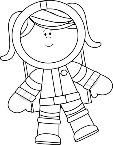 Black and White Girl Astronaut Floating Clip Art - Black and White Girl Astronaut Floating Image