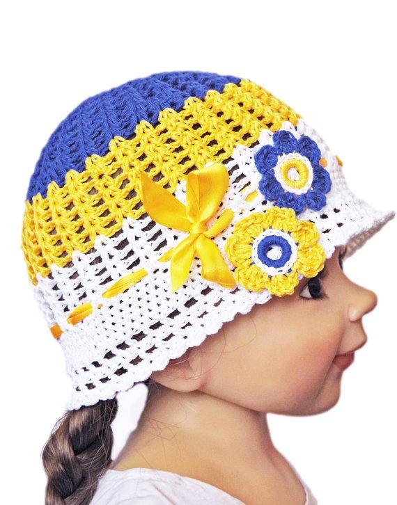 Flower Sun Hat Toddler Hat,Crochet Flower Hat Cloche Blue Yellow White Cotton, Hat Rose Flower Flapper Hat Girl  Children  2-6 years