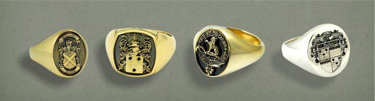 Gold Custom designed Family Crest Signet Rings by http://www.petergordonjeweller.com.au/family-crest-rings.php