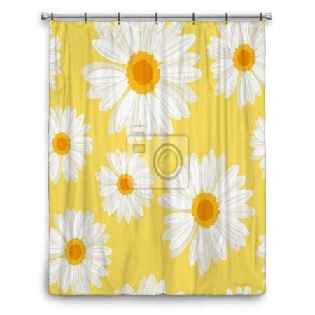 Seamless Background With Daisy Flowers On Yellow. Vector. Shower Curtain  70x90