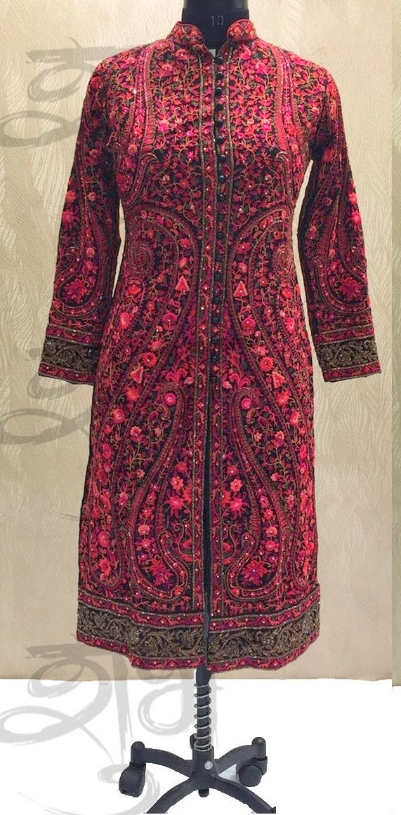 Buy SE 1081 : Pink Red Kashmiri Hand Embroidered Designer Straight Suit