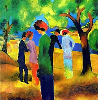 August Macke ~ WOMAN IN A GREEN JACKET, 1913