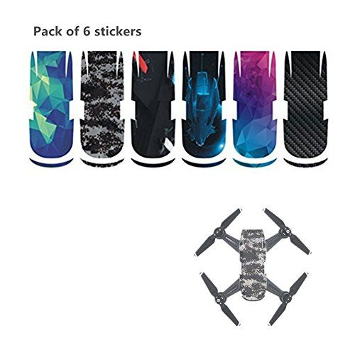 Hensych® Pack of 6 Stickers - PVC Waterproof Sticker Decal Skin Cover for DJI Spark Drone - http://quadcopter-drones.co.uk/product/hensych-pack-of-6-stickers-pvc-waterproof-sticker-decal-skin-cover-for-dji-spark-drone/