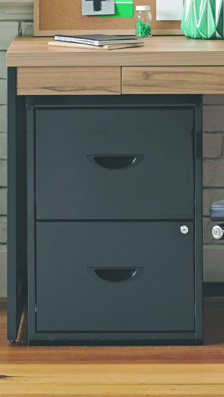 Soho 2 Drawer Plush Filing Cabinet Black