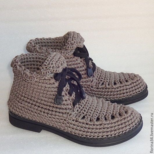 Обувь ручной работы. Ярмарка Мастеров - ручная работа. Купить Ботинки вязаные со шнуровкой, серый, хлопок. Handmade. Серый