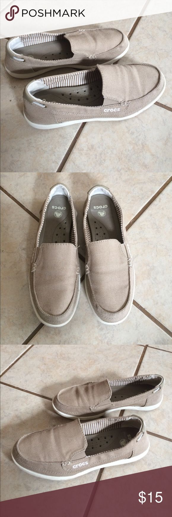 Women's Crocs boat shoe Crocs size W8 khaki/canvas boat shoe. Worn for one full day when I was pregnant and my feet were swollen, now they are just too big for me. Worn with socks (I always wear socks), so no odor. Great condition, very little visible wear. CROCS Shoes Flats & Loafers