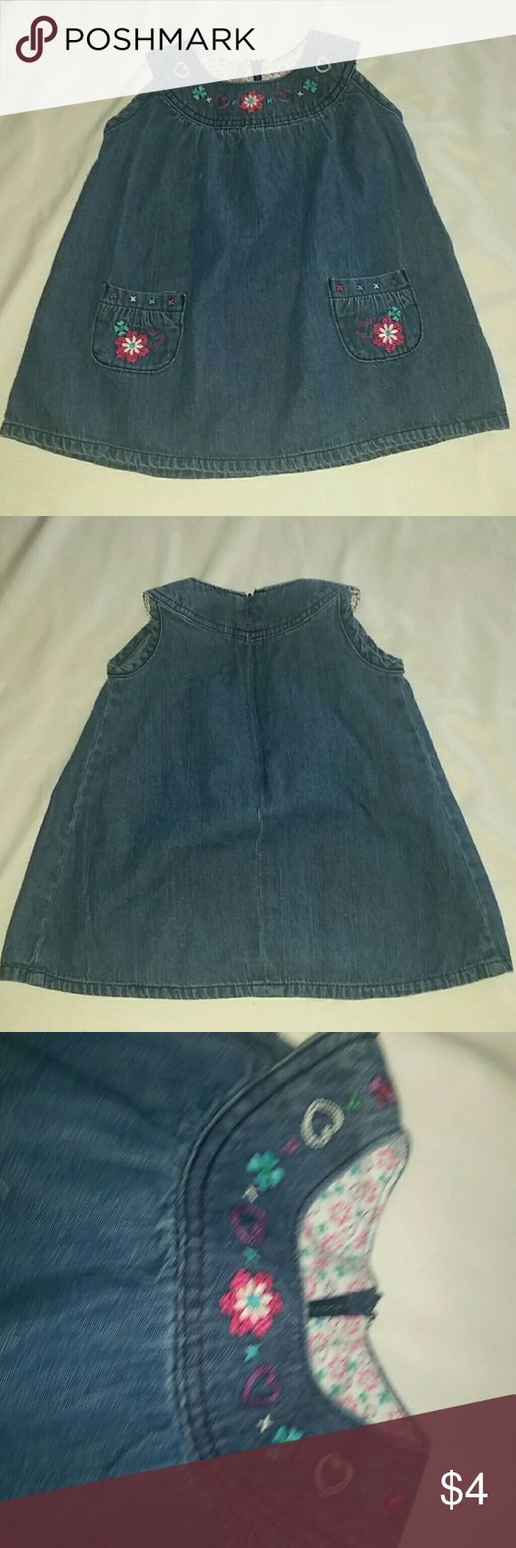 Girls Jean sack dress 18 months Super cute blue denim sack dress with flowers and hearts embroidered around the oval neckline and two front pockets Arizona Jean Company Dresses Casual