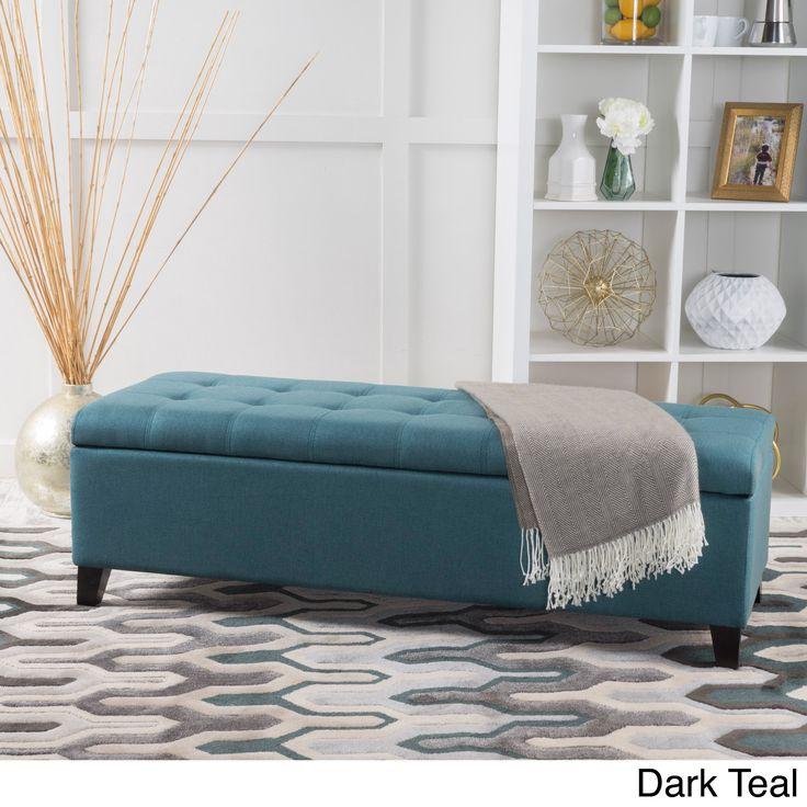 Mission Tufted Fabric Storage Ottoman Bench by Christopher Knight Home (Dark Teal (Blue))