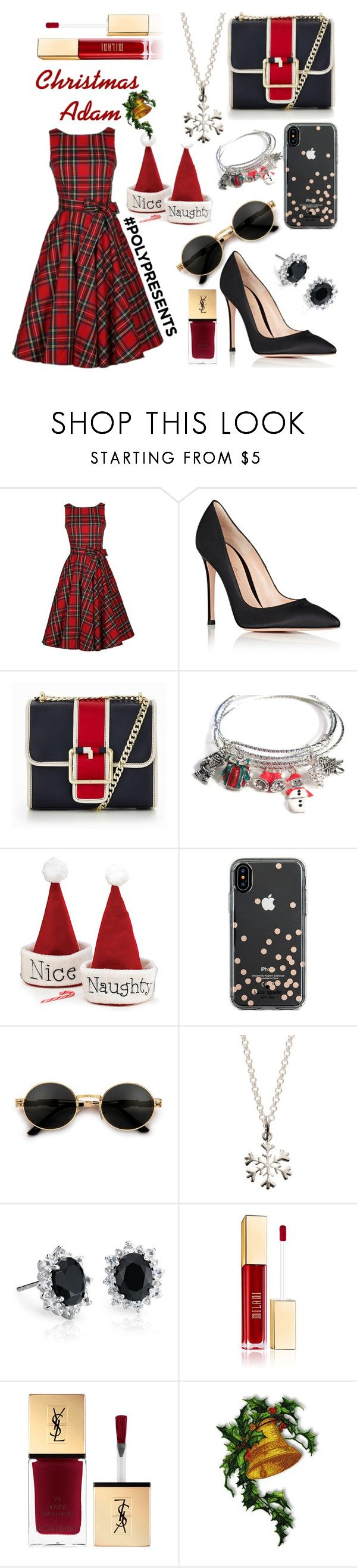 """""""Christmas Adam #polypresents"""" by juice2003 ❤ liked on Polyvore featuring Gianvito Rossi, Tommy Hilfiger, Kate Spade, Lily Charmed and Blue Nile"""