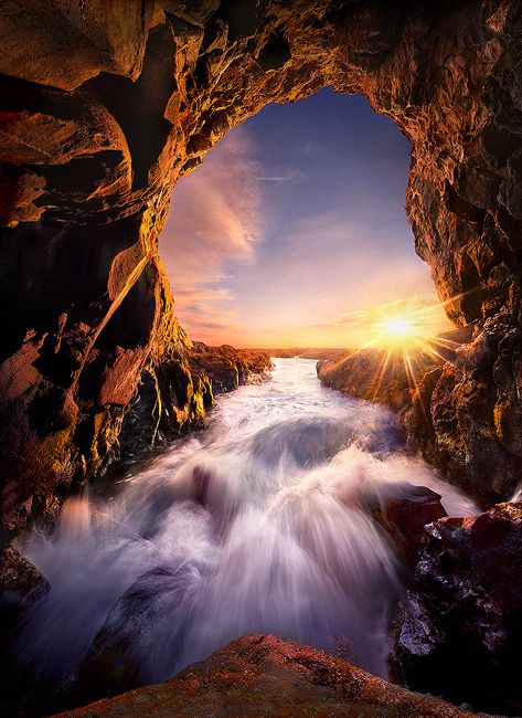 Sunset San Pedro Beach Cave California Usa Wanna