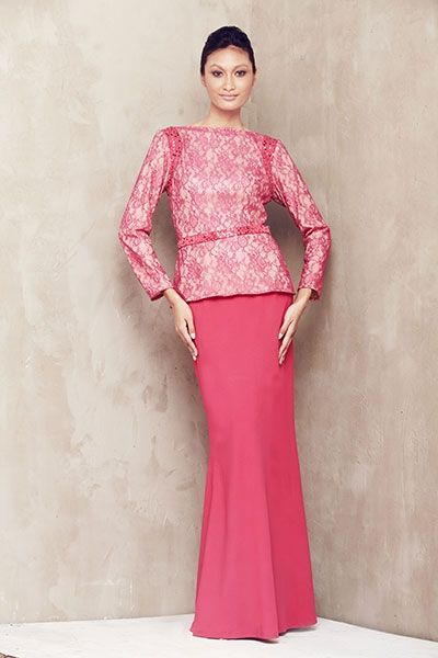 Lace Baju Kurung with Beaded Armhole - Dark Pink