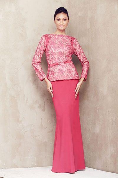 Lace Baju Kurung with Beaded Armhole - Dark Pink