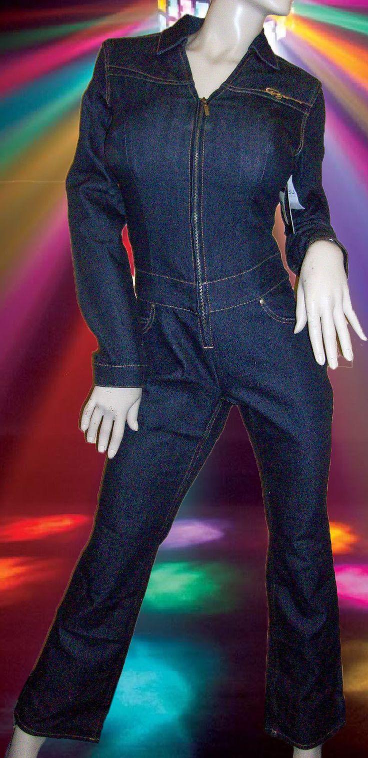 Fubu Daymond John Denim Stretch Blue Jean Jumpsuit Vintage 1990's Sz - 9/10