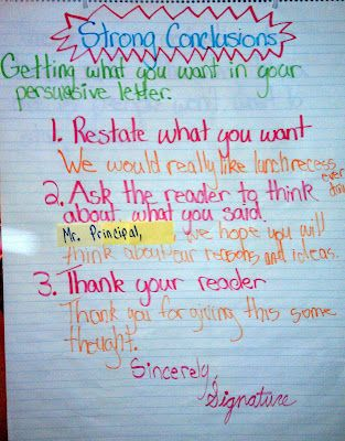 Juice Boxes and Crayolas: Persuasive Writing Boot Camp | Conclusions Anchor Chart