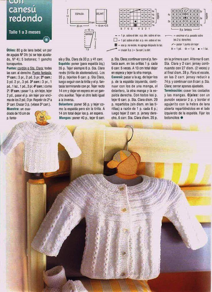 Mil cosas en el Baúl: Saquito para Bebé con Canesú Redondo a dos agujas