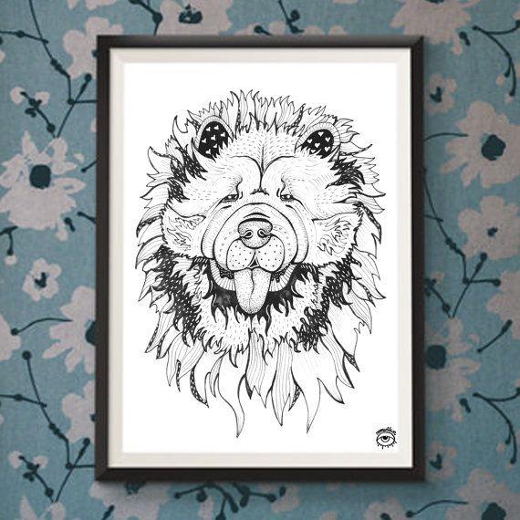 Chow Chow Dog A4 A5 illustration print art dog print dog by mmuffn