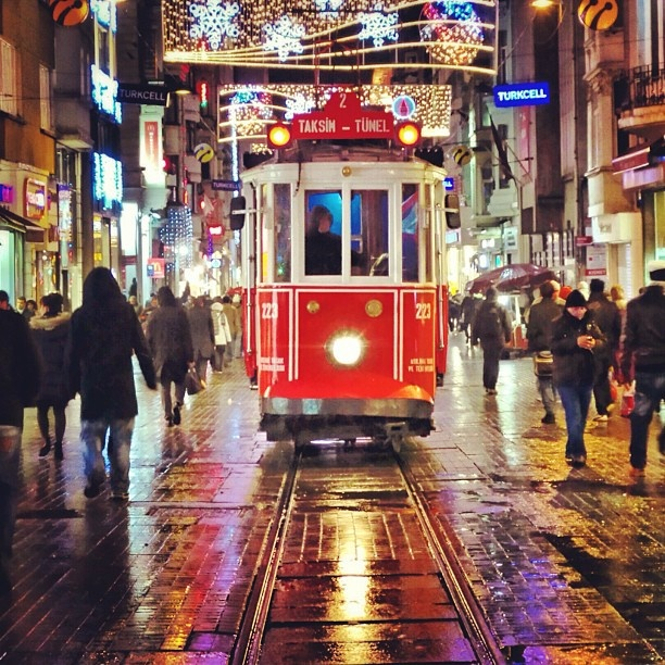 Istanbul, Historic tram travelling between Taksim Square and Tunnel Square along Istiklal Street.
