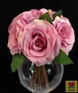 ARTIFICIAL SILK FLOWER WEDDING BOUQUET MAGENTA/PINK ROSE FLOWERS cintahomedeco
