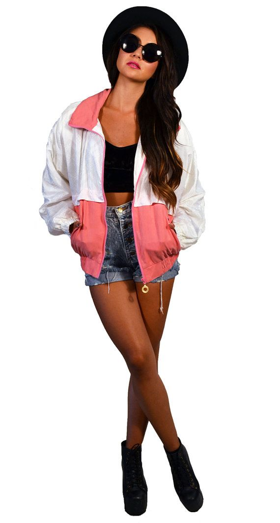 Vintage 80s Pink and White Windbreaker Track by saltwatergypsy, $45.00