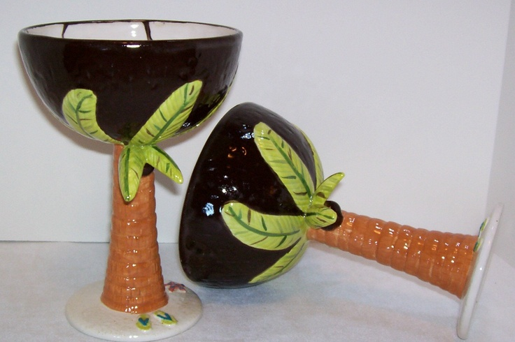 Margarita,Coconut, Cocktail Goblets, Bahama Mama Cups, Bar Glasses, Bar Glasses, Tropical Drinks, Palm Tree Glass. $64.99, via Etsy.