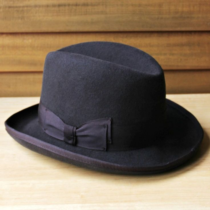 """Stacy Adams Dark Brown 100% Wool Hat Homburg Style Size Med 21"""" Circumference  #StacyAdams #HomburgGodfather"""